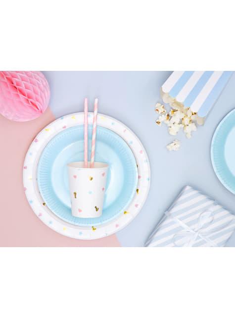 10 pastellinpinkkiä paperipilliä valkoisilla täplillä - Gold Bridal Shower