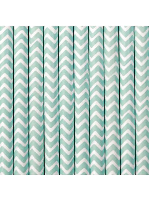 10 pajitas azul pastel con zig zag blanco de papel
