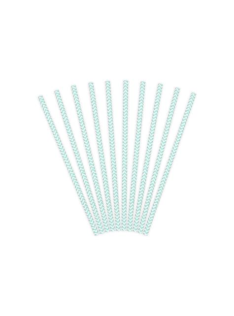 10 paperipilliä väkäsillä, pastellinsininen & valkoinen