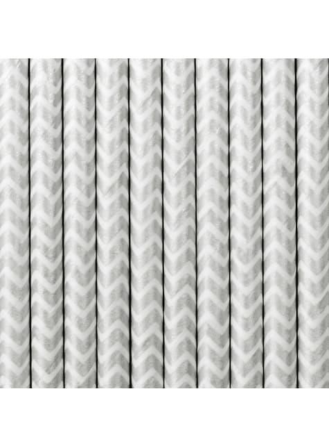 10 pajitas plateadas con zig zag blanco de papel