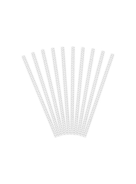 10 pajitas plateadas con zig zag blanco de papel - para tus fiestas