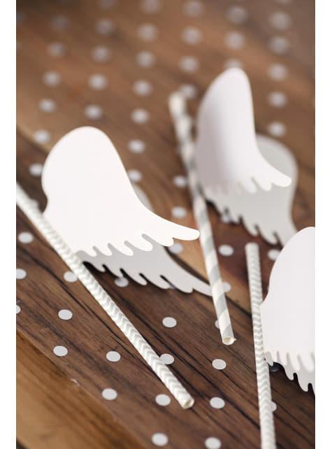 10 pajitas plateadas con zig zag blanco de papel - barato