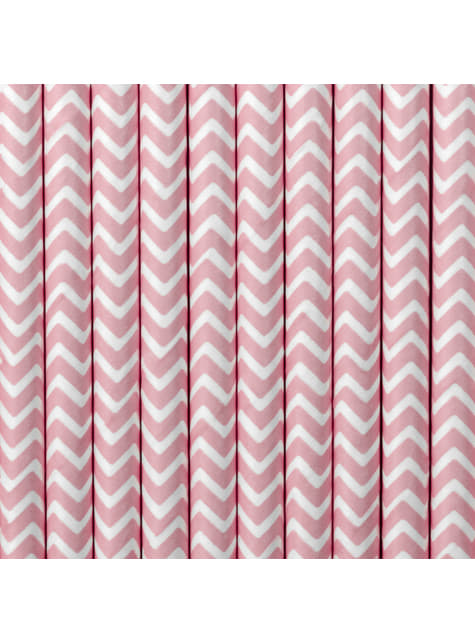10 pajitas rosa pastel con zig zag blanco de papel - So Sweet Wedding
