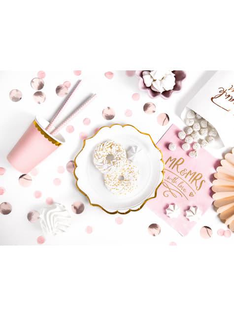 10 pailles rose pastel avec zig zag blanc en papier - So Sweet Wedding