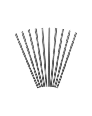 10 Silver Paper Straws - New Year & Carnival