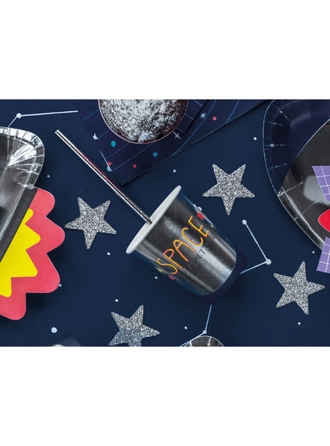 10 pailles argentées en papier - New Year & Carnival