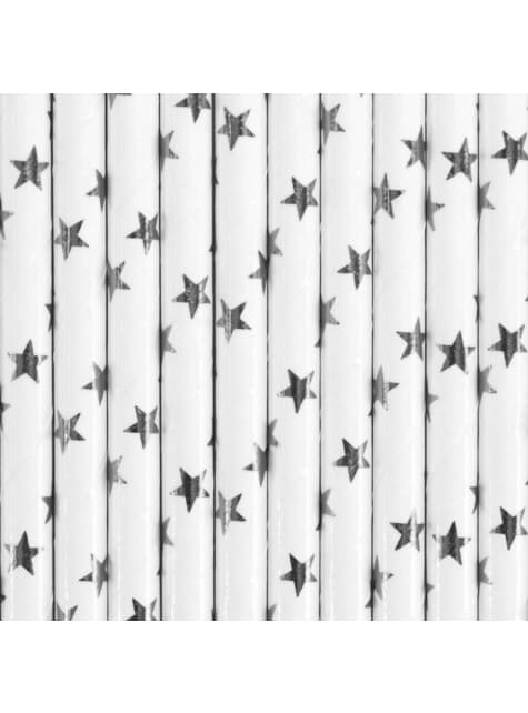 10 pailles blanches avec étoiles argentées en papier