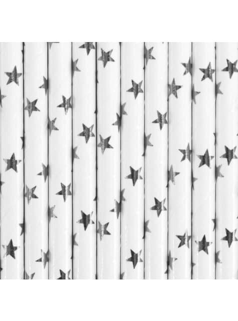 10 pajitas blancas con estrellas plateadas de papel