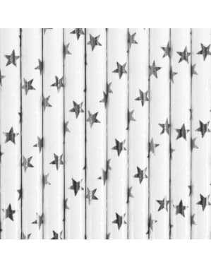 10 White Paper Straws with Silver Stars