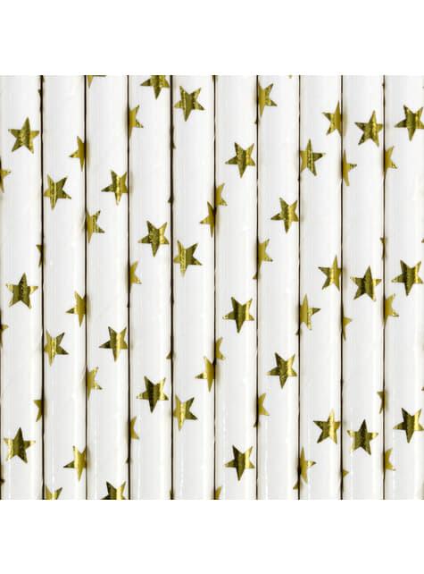 10 pajitas blancas con estrella doradas de papel para nochevieja - Happy New Year Collection