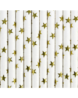 10 White Paper Straws with Gold Stars - Happy New Year Collection