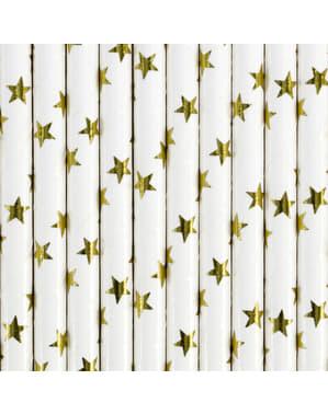 10 witte papieren rietjes met gouden sterren - Nieuwjaars Collectie