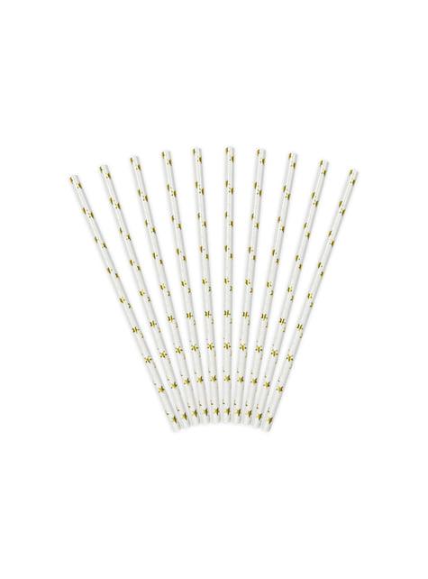 10 pajitas blancas con estrella doradas de papel para nochevieja - Happy New Year Collection - para tus fiestas