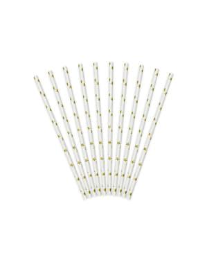 Set 10 bílých papírových slámek se zlatými hvězdami - Happy New Year Collection