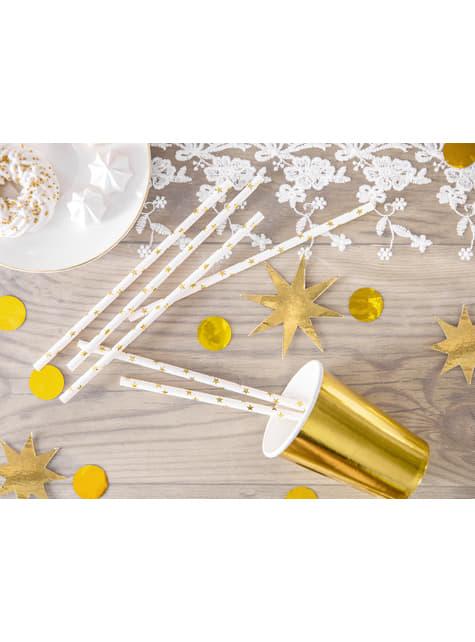 10 pajitas blancas con estrella doradas de papel para nochevieja - Happy New Year Collection - original