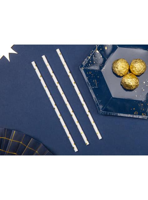 10 pailles blanches avec étoiles dorées en papier - Happy New Year Collection
