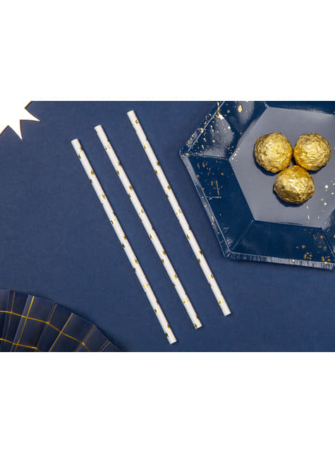 10 pajitas blancas con estrella doradas de papel para nochevieja - Happy New Year Collection - barato