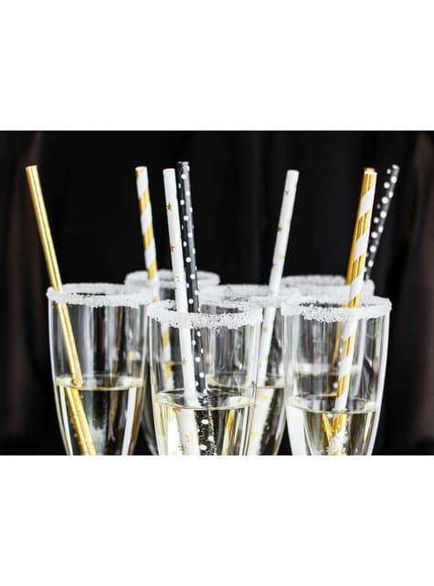 10 pajitas blancas con estrella doradas de papel para nochevieja - Happy New Year Collection - comprar