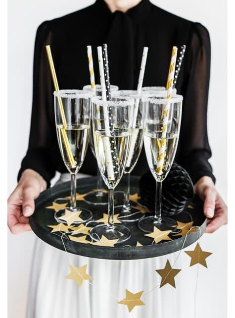 10 pajitas blancas con estrella doradas de papel para nochevieja - Happy New Year Collection - para niños y adultos