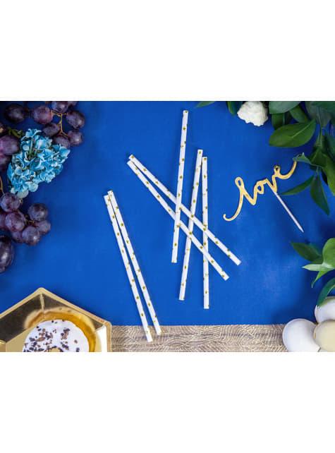 10 pajitas blancas con estrella doradas de papel para nochevieja - Happy New Year Collection - celebra cualquier ocasión