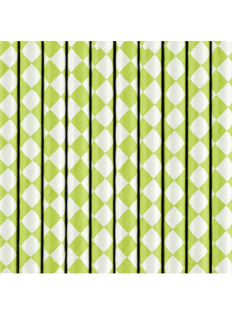 10 pajitas blancas con rombos verde pastel de papel