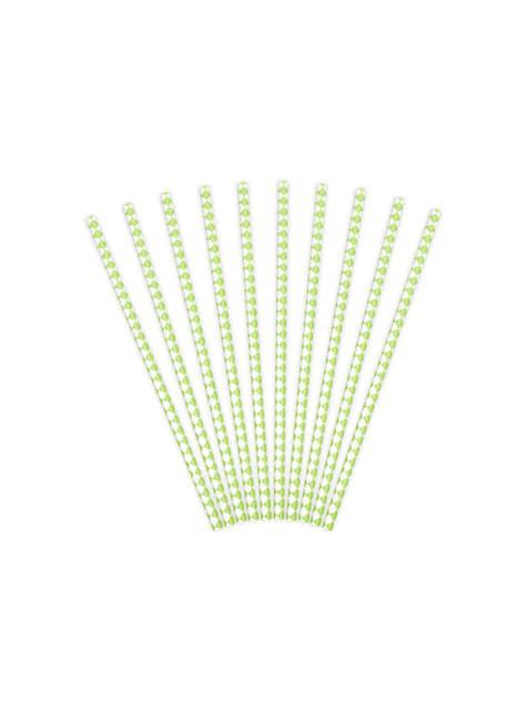 10 pailles blanches avec losanges verts pastel en papier