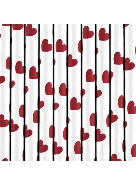 10 pajitas blancas con corazones rojos de papel - Valentine's Day