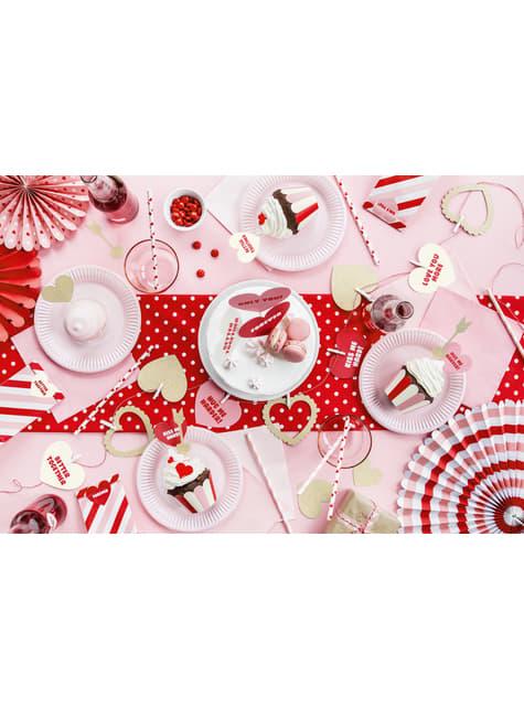 10 pailles blanches avec cœurs rouges en papier - Valentine's Day