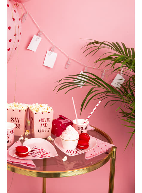 10 pajitas blancas con corazones rojos de papel - Valentine's Day - comprar