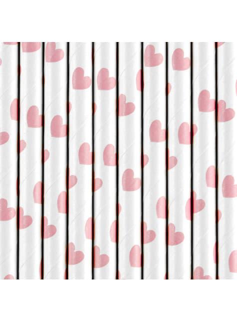 10 pajitas blancas con corazones rosas pastel de papel - Valentine's Day