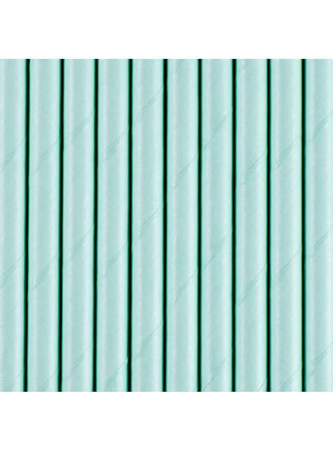 10 paperista juomapilliä, pastellinsininen - Perusvärilinja