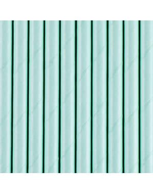 10 pastelowo niebieskie papierowe słomki do napojów - Iridescent