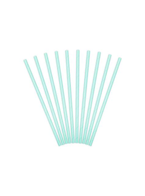 10 pajitas azules pastel de papel - Iridescent - para tus fiestas