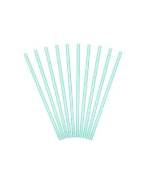 Комплект от 10 хартиени сламки, пастелно синьо - линия с основни цветове