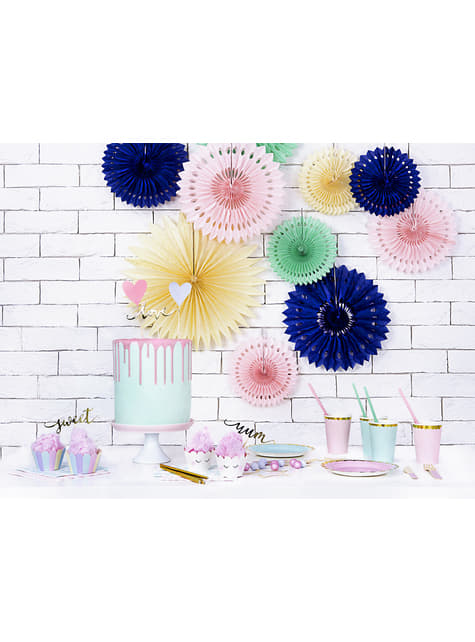 10 pajitas azules pastel de papel - Iridescent