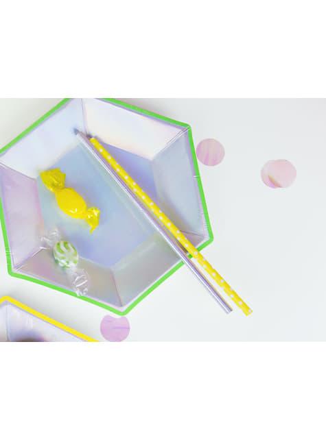 10 pajitas plateadas iridiscentes de papel - Iridescent