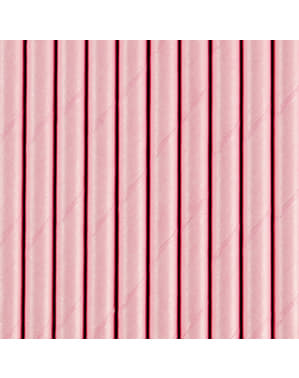 10 papperssugrör pastellrosa