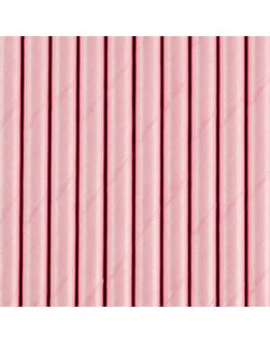 10 Pastel Pink Papir Sugerør