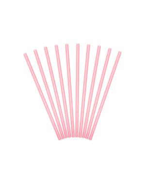 Комплект от 10 пастелни розови хартиени сламки