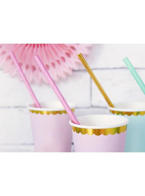 10 pajitas rosas pastel de papel - para niños y adultos