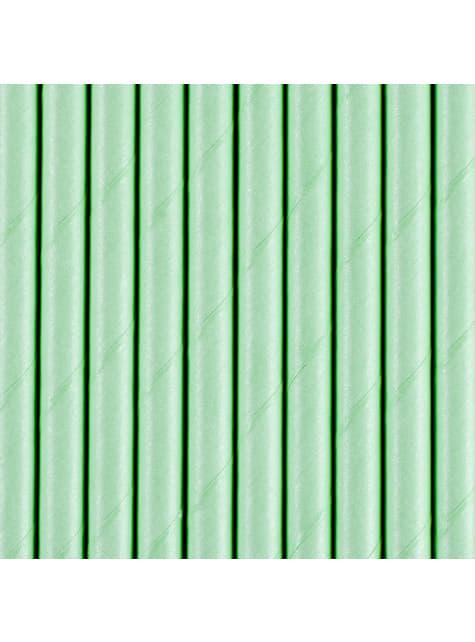 10 pailles vertes menthe en papier
