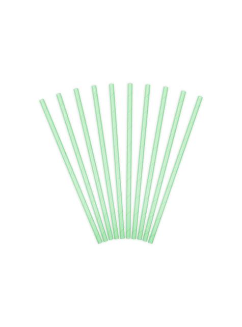 10 pajitas verdes menta de papel - para tus fiestas