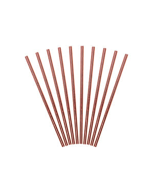 10 Rose Gold Paper Straws - Tropical Wedding