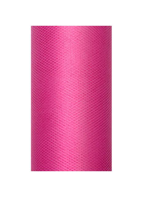 Rollo de tul rosa de 15cm x 9m