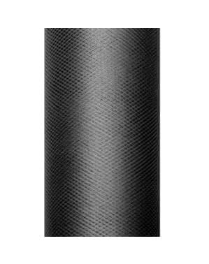Zwarte tule rol van 15cm x 9m