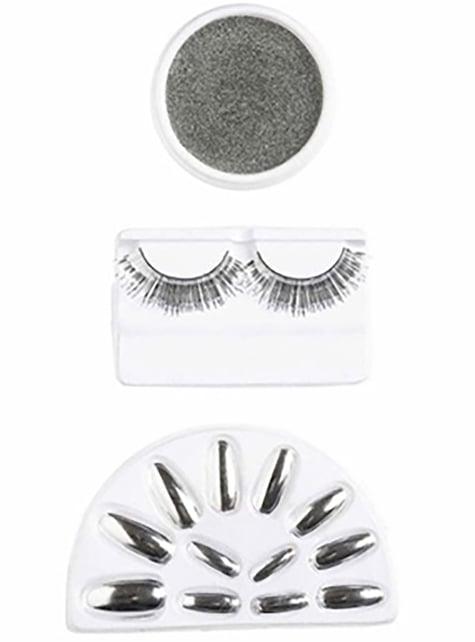 Silver Eyelashes and Nails