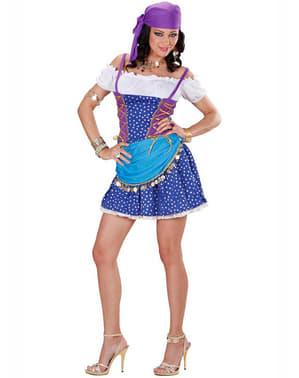 Disfraz de zíngara azul para mujer