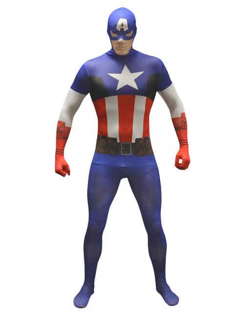 Captain America Morphsuitアダルトコスチューム