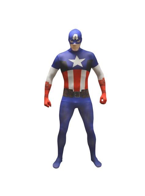 Přiléhavý oblek pro dospělé Kapitán Amerika clasický