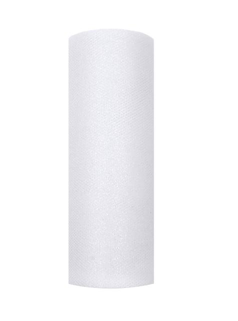Rotolo di tulle bianco luccicante di 15 cm x 9 m